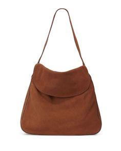 Suede Doubled Flap Top Medium Hobo Bag, Prada