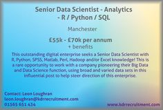 New Job: Senior Data Scientist - Analytics - R / Python / SQL needed in Manchester. Contact Leon to find out more or apply online today!