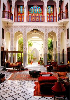 Would love to have an outside room like this Moroccan inspired area. My favorite part about the room is that there is natural sunlight and it is not completely closed in. Reminds me of my stay at a Riad in Marrakech. Moroccan Design, Moroccan Decor, Moroccan Style, Moroccan Lanterns, Moroccan Bedroom, Modern Moroccan, Indian Style, Design Marocain, Riad Marrakech