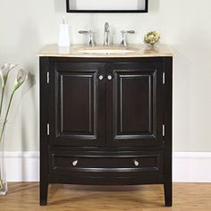 Silkroad Exclusive Travertine Stone Top Single Sink Bathroom Vanity with Furniture Cabinet, 32-Inch