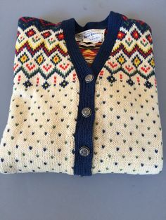 Vintage Wool Norwegan CARDIGAN Sweater | Fair Isle White Blue Red Yellow Green | KNUT ERICHSEN of Norway | Hand Knit | 1960s by BrocanteBedStuyHOMME on Etsy