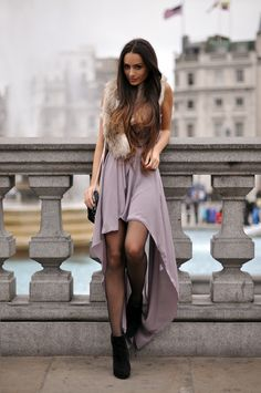 pretty soft purple dress, tights booties and faux