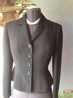 Jones New York Black Long Sleeve Blazer Suit Jacket SZ 6 #JonesNewYork #Blazer