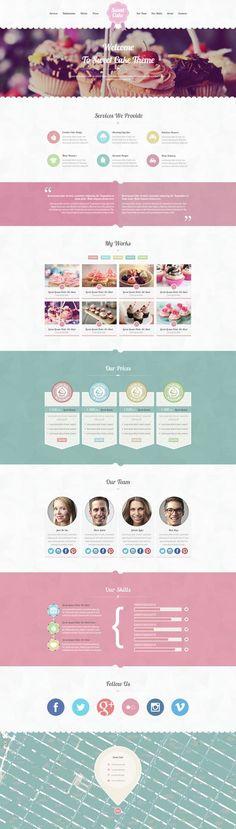 Sweet Cake - One Page PSD Theme by Zizaza - design ocean , via
