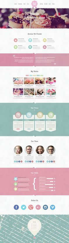 Sweet Cake - One Page PSD Theme by Zizaza - design ocean , via