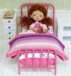Metal Bed With Akcesorium For Dolls Quilt Handmade Patchwork Diorama for tiny doll like Irrealdoll, Lati Yellow, Pukiefee - https://www.etsy.com/listing/291313777/metal-bed-with-accessories-for-dolls?ref=shop_home_listings