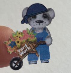 Planner stickers boy bear yard work fits Erin by sisscreations
