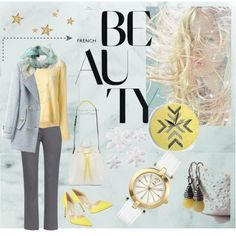 Cool winter fashion with icy and sunny yellow colors. Shoe Bag, Polyvore, Shopping, Beauty, Collection, Design, Women, Fashion, Moda
