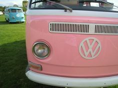 Pink VW Bus...trying to convince my hubby this needs to be my next vehicle (restored of course). Apparently between my Obsession with these and MINI coopers, I grew up in the wrong era!