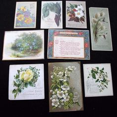 9 x Antique Victorian Printed Christmas Greeting Cards - Flower Designs  | eBay