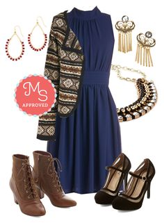 """""""Windy City Dress in Navy"""" by modcloth ❤ liked on Polyvore featuring But Another Innocent Tale"""
