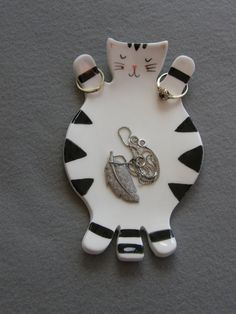 Black and white Cat Handmade Ceramic Jewelry by TatjanaCeramics, $11.50