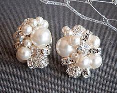 Pearl Cluster Wedding Earrings Swarovski by GlamorousBijoux