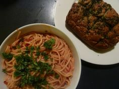 Spaghetti puttanesca and herb bread | The Little Green House