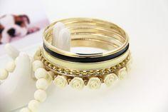 Fashion Alloy Resin Rose Bead White Bracelets Multilayer Bangle Bracelet for Girls Charm Jewelry