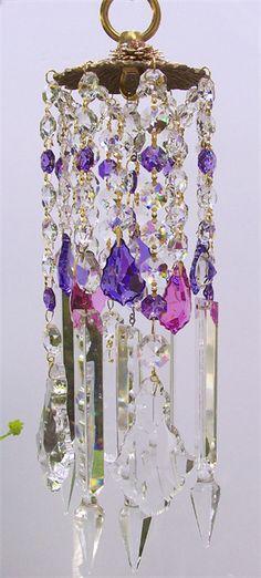 Luv the purple & blue crystal wind chimes Crystal Wind Chimes, Garden Whimsy, Crystal Design, All Things Purple, Wire Art, Shades Of Purple, Suncatchers, My Favorite Color, Glass Art