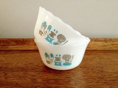 fire king plates cups | Fire King Blue Heaven Custard Cups by vintage19something on Etsy