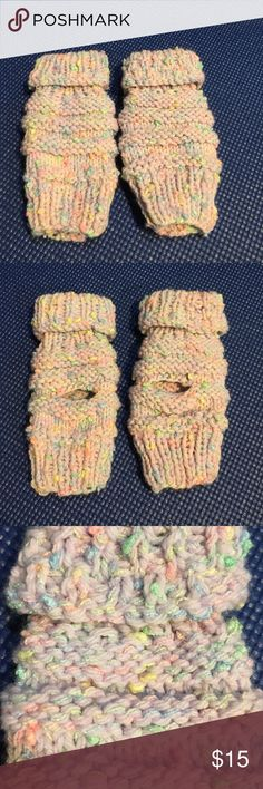 Sherbert fingerless gloves Pastel colors. Will fit a 7-12 year-old. handmade Accessories