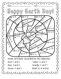 Earth Day: Divide and Color - great for morning work or a math center! Hang on the wall as holiday decoration after students color.
