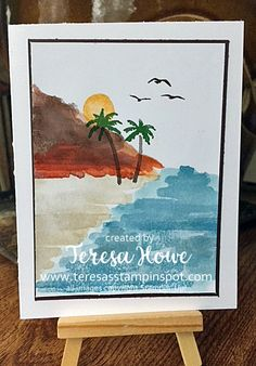Hi!  Did you have fun checking out all the great projects in Saturday's Valentine hop?  I hope so!  But if you missed it, here's my project. Today, I have a beach scene I did at a works…