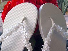 6a2c0bc5a3fc3 Items similar to Decorative Floral Flip Flops - Wedding