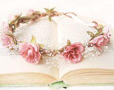 Flower Crown, Bridal Headpiece, Pink Roses, Baby's Breath, Floral Headband, Pink Ivory Wreath, Woodland Wedding Hair Accessories, Rustic,