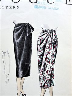 1950s CLASSY Sarong Wrap Skirt VOGUE 8303 Draped Front Wrapped Skirt, Loose Cascade Day or Evening Skirt Waist 28 Vintage Sewing Pattern