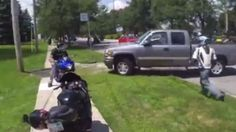Videos show confrontation between pickup truck driver and motorcyclists