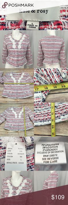 🌸Size Large NWT Kate & rosy Blazer Tweed Jacket Measurements are in photos. Brand New, no flaws. C3/20  I do not comment to my buyers after purchases, do to their privacy. If you would like any reassurance after your purchase that I did receive your order, please feel free to comment on the listing and I will promptly respond. I ship everyday and I always package safely. Thanks! Kate & rosy Jackets & Coats Blazers