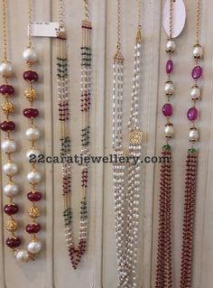 Simple Beads Sets in 18 Carat Gold - Jewellery Designs Pearl Necklace Designs, Beaded Necklace Patterns, Gold Earrings Designs, Gold Jewellery Design, Bead Jewellery, Jewelry Patterns, Beaded Jewelry, Jewelery, Pearl Necklaces