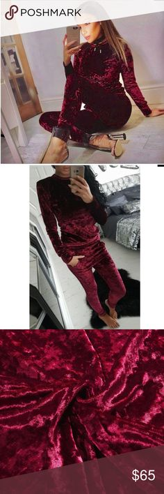 Burgundy crushed velvet two piece tracksuit Burgundy maroon super soft and cozy two piece track suit. Fits true to size. Crushed velvet. Slim fit sweater and matching joggers. Trendy sweat suit, can be worn in the house or out! Must have lounge wear!! Pants Track Pants & Joggers