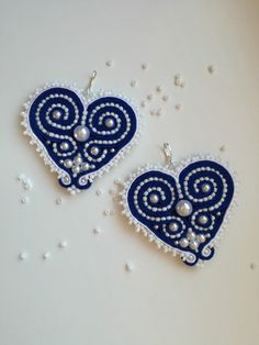 Folk soutache heart-shaped earrings