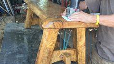 Custom Agave Bench fir the dinner on the desert auction at the desert botanical gardens in Phoenix az. Carving the brand. on Vimeo Desert Botanical Garden, Botanical Gardens, Rustic Interiors, Rustic Style, Masters, Deserts, Auction, Carving, Meet