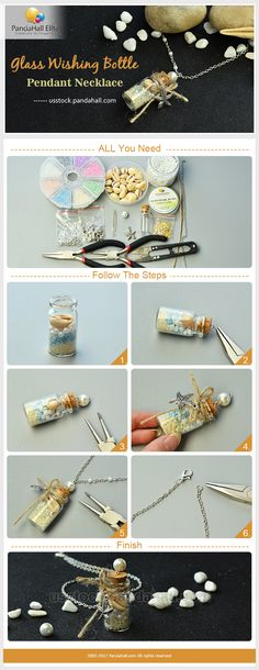 DIY glass wishing bottle pendant necklace with Pandahall Elite glass beads and glass bottles
