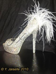 Swarovski Crystal and Ostrich Feather Wedding Shoes by yhasminae, $650.00