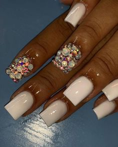 Acrylic Toes, Bling Acrylic Nails, Drip Nails, White Acrylic Nails, Aycrlic Nails, Best Acrylic Nails, Rhinestone Nails, Bling Nails, Swag Nails