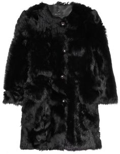 $7,020, Black Fur Coat: Simone Rocha Shearling Coat. Sold by NET-A-PORTER.COM. Click for more info: https://lookastic.com/women/shop_items/74987/redirect