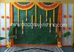 Decor by Krishna AP/ Telangana/ Karnataka/ Tamilnadu/ USA/Australia Wedding Backdrop Design, Desi Wedding Decor, Simple Wedding Decorations, Backdrop Decorations, Flower Decorations, Ceremony Decorations, Mehndi Decor, Mehendi, Indian Baby Showers