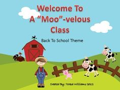 """Welcome to a """"Moo""""-velous Class Back to School Theme includes name plates, blank letter templates, Days of the Week, Months of he year, 4 different programmable name tags, MOO Notebook cover, etc. Everything you need for back to school theme for your classroom!"""