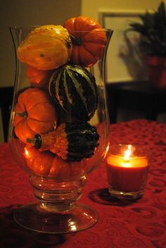Mixed Gourds in a Hurricane Vase
