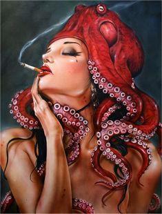 More Seductive Femme Fatale Paintings by Brian M. Viveros
