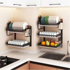 Kitchen Room Design, Home Decor Kitchen, Kitchen Furniture, Kitchen Interior, Home Kitchens, Steel Storage Rack, Storage Racks, Diy Kitchen Storage, Kitchen Wall Storage