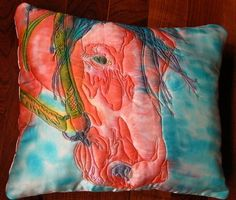Horse Pillow quilted silk Hand Dyed handmade by maxinefashion Cowboy Quilt, Horse Quilt, Blankets, Pony, Quilting, Hand Painted, Horses, Stitch, Silk