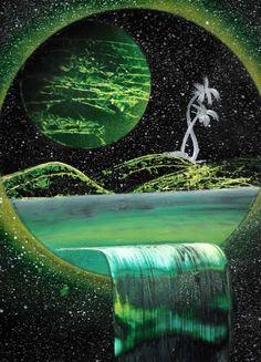 Oh my gosh! Spray Paint Artwork, Spray Paint Canvas, Spray Paint Projects, Spray Can Art, Space Painting, Airbrush Art, Fantasy Landscape, Recherche Google, Amazing Art