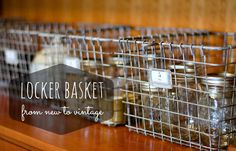DIY::Make new Dollar Store/Discount Store locker baskets look Vintage Simply With Spray Paint ! Use For Lovely Decor or Pretty Storage ! Easy Tutorial by It All Started With Paint