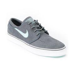 Nike Zoom Stefan Janoski Grey & Mint Suede Shoe
