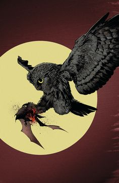"""Symbolism abounds in the New """"Batman"""" showing how the bat that inspired Bruce Wayne to become the Batman was quickly devoured by an owl. Still, the Court of Owls has never met a foe quite like the Batman. Dc Comics, Batman Comics, Anime Comics, Batman Court Of Owls, Batman Vs, Batman Stuff, Comic Book Characters, Comic Books Art, Gotham"""