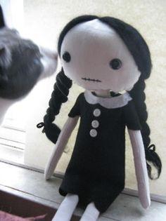 wednesday adams doll, custom piece i worked on last christmas. (and ziggy the cat)