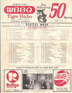 Vintage copy of hometown radio station WBBQ top 50 hits.