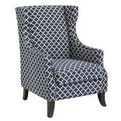 Hardwood Alec Wing Chair - Navy Trellis